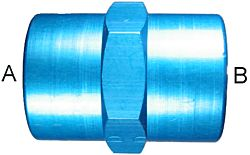 Blue Anodized Aluminum Adapters, Female NPT Coupling, Straight
